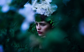 Picture greens, girl, flowers, makeup, bokeh, Maybe It Was Peace At Last