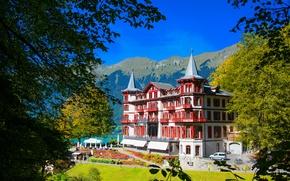 Picture landscape, the city, photo, home, Switzerland, Hotel Giessbach Brienz
