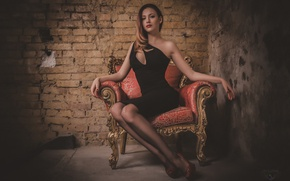 Picture look, chair, dress, legs, beauty, neckline, the temptation, photographer, chic, sitting, face, Andrew Krymowski