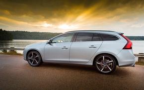 Picture road, sunset, lake, Volvo, V60, R-Design
