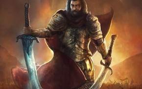 Picture weapons, sword, warrior, art, male, cloak