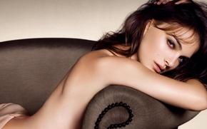 Picture girl, sofa, actress, Natalie Portman, Natalie Portman