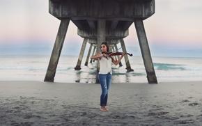 Picture sea, girl, bridge, music, violin