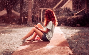 Picture girl, red, Rainfall, hair