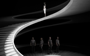 Picture cinema, dress, woman, man, movie, good, black and white, bad, film, staircase, cast, ladder, Theo …