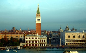Picture Italy, Venice, channel, columns, the bell tower, Piazzetta, The Doge's Palace