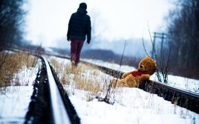 Picture rails, bear, railroad