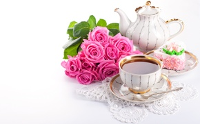 Picture flowers, tea, the sweetness, roses, bouquet, kettle, Cup, drink, cake, lace, dessert, napkin