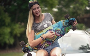 Picture girl, smile, sport, skate