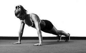 Wallpaper fitness, white and black, pushups
