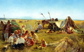 Picture picture, children, the situation, painting, people, the fire, peasant lunch in the field, Makovsky, food, ...