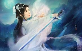 Picture girl, mountains, night, the moon, sword, art, kimono, Asian