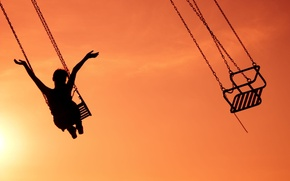 Picture the sky, girl, joy, happiness, sunset, background, swing, widescreen, Wallpaper, mood, hands, attraction, chain, girl, …
