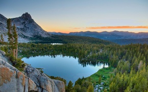 Picture the sky, clouds, trees, mountains, rocks, lake, USA, Yosemite National Park, Sierra Nevada