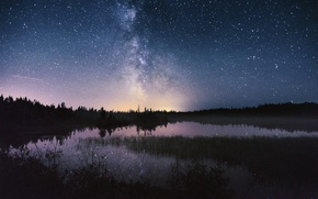 Picture the sky, stars, night, lake, the milky way