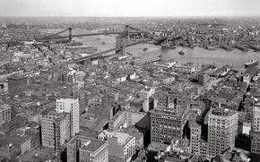 Picture bridge, retro, river, home, New York, panorama, USA, 1910-th year
