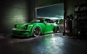 Picture Green, Machine, Desktop, Garage, Car, Porsche, Car, Beautiful, Green, Carrera, Wallpapers, Beautiful, 993, Wallpaper, The ...