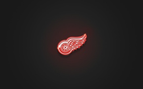 Picture Red, Minimalism, Wheel, Wings, Logo, Texture, Hockey, Red Wings