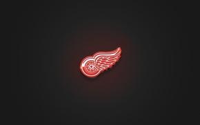 Wallpaper Red, Minimalism, Wheel, Wings, Logo, Texture, Hockey, Red Wings