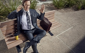 Picture city, Breaking Bad, man, leather, coffee, suit, telephone, vegetation, tie, pavement, Saul Goodman, Bob Odenkirk, …