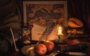 Picture pen, apples, books, map, candle, tube, shell, still life, hourglass