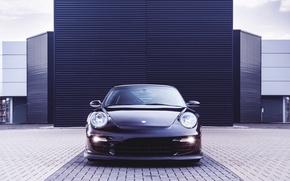 Picture Auto, Black, 911, Porsche, Machine, The hood, The building, Lights, Porsche, GT2, The front, Sports …