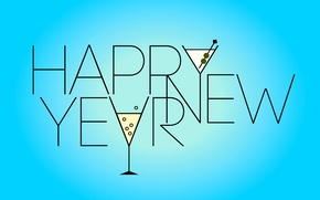 Wallpaper holiday, new year, glasses, words, blue background, happy new year, congratulations, holiday