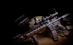 Picture weapons, gun, twilight, weapon, carabiner, automatic, hd wallpaper, assault rifle, PNV, Larue Tactical, assault carbine