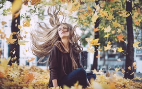 Picture autumn, girl, the wind, foliage