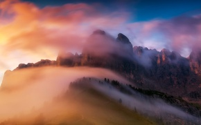 Picture clouds, light, mountains, fog, paint, morning, Alps