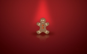 Wallpaper new year, Christmas, red background, gingerbread, christmas-cookie, the gingerbread man
