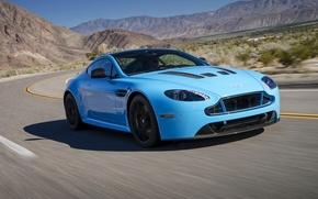 Picture road, blue, Aston Martin, speed, Vantage, V12, Aston Martin car
