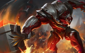 Picture hammer, warrior, art, giant, Heroes of Newerth, Ascension, Magmus