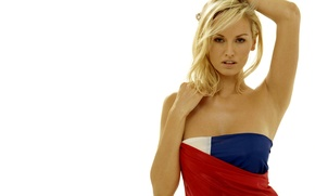 Picture look, girl, flag, blonde