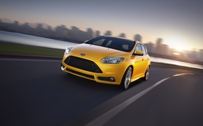 Picture Ford, Focus, Yellow, Sport, Hatchback