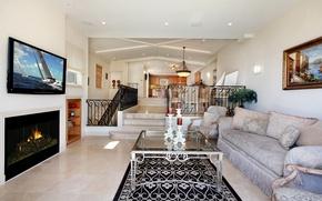 Picture design, photo, sofa, carpet, interior, TV, fireplace, living room