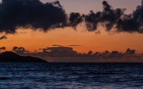 Picture sea, clouds, sunset, mountain