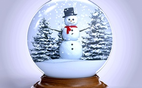 Picture snow, tree, ball, New Year, Christmas, snowman, winter, snow, New Year, globe, Merry, Cristmas