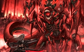 Picture fire, flame, monster, mouth, armor, the battle, Iron, super-weapons