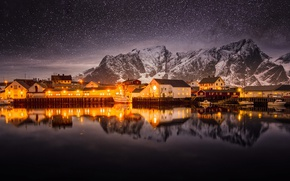 Picture the sky, stars, mountains, night, lights, Norway, North, the village