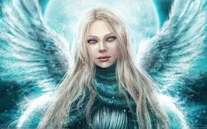 Wallpaper angel, look, girl, wings, winter