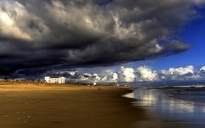 Wallpaper clouds, storm, Shore