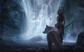 Picture girl, fiction, animal, waterfall, art, white wolf