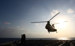 Wallpaper sea, the sun, aviation, ship, the carrier, helicopter, America, USA, Playground, military, america, usa, Marines, ...