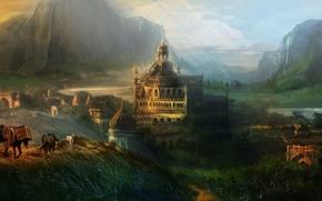 Picture mountains, art, waterfall, horse, the city, caravan, hills, landscape