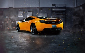 Picture McLaren, Orange, MP4-12C, Supercar, Garage, Rear, Sparks