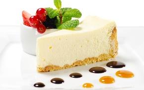 Picture chocolate, strawberry, cake, cake, cake, dessert, currants, cakes, cake, sweet, chocolate, dessert, cheesecake, piece, cheesecake