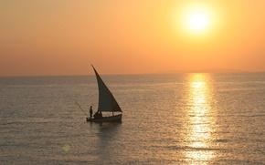 Picture the ocean, boat, morning, sail, fishermen, sunset, Mozambique, Bazaruto Archipelago
