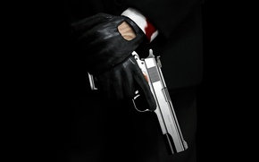 Wallpaper gun, blood, gloves, Hitman, killer, sleeve, Absolution