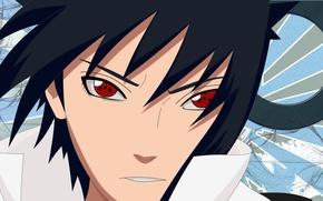 Picture face, Naruto, red eyes, sharingan, ninjutsu, Sasuke Uchiha, Naruto shippuuden, high collar